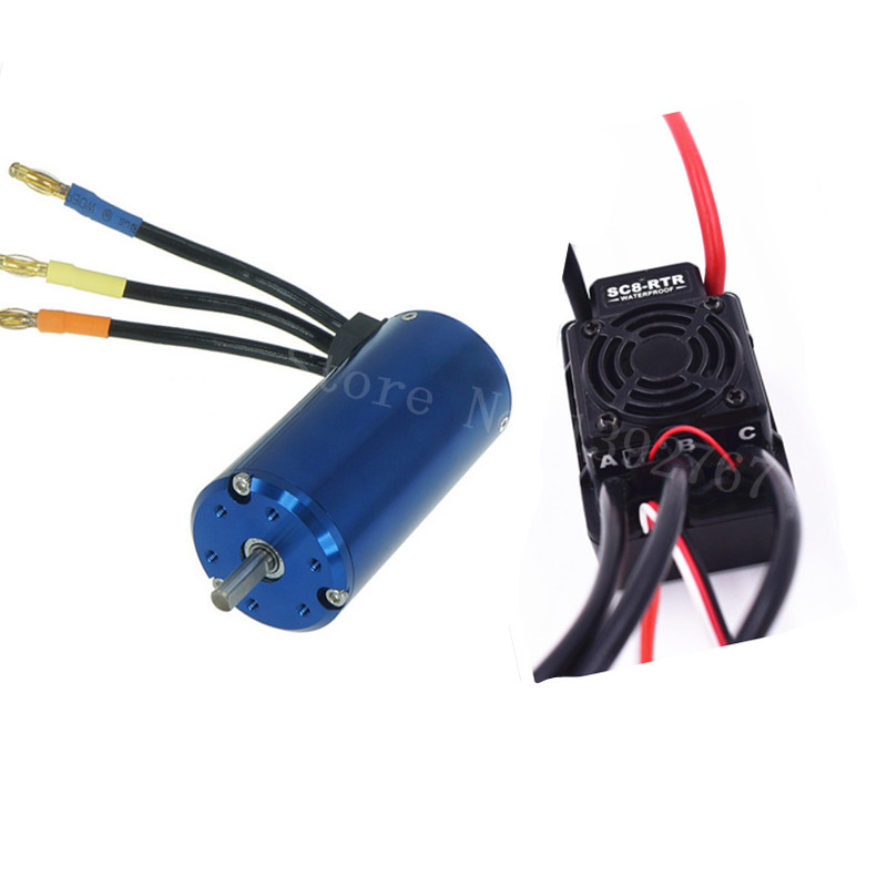 1Set 120A Waterproof ESC SBEC Brushless 2 4S Lipo NiMH 3674 Motor 2600KV For 1/8 1/10 Scale Models Remote Control RC Car SC8 RTR