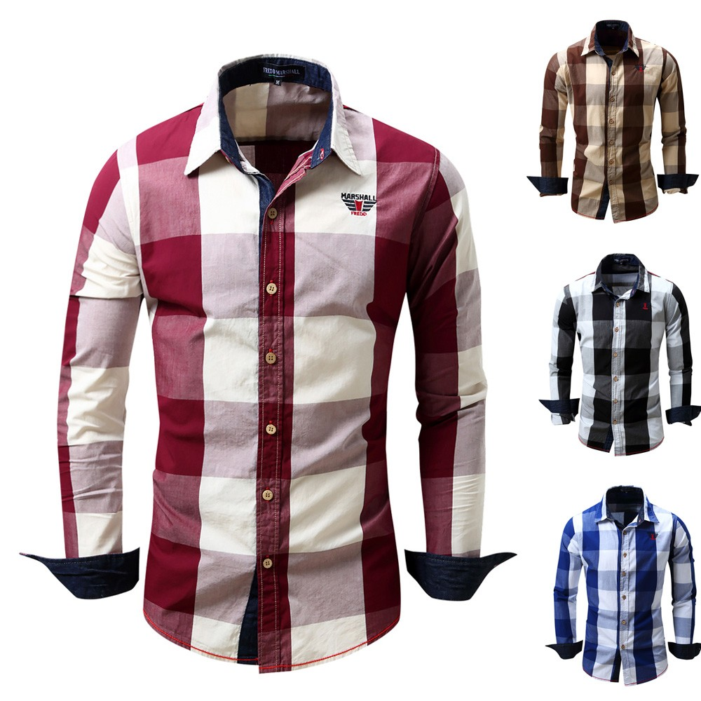 Tootless-Men Button Down Plaid Cotton Long-Sleeve Lapel Shirts