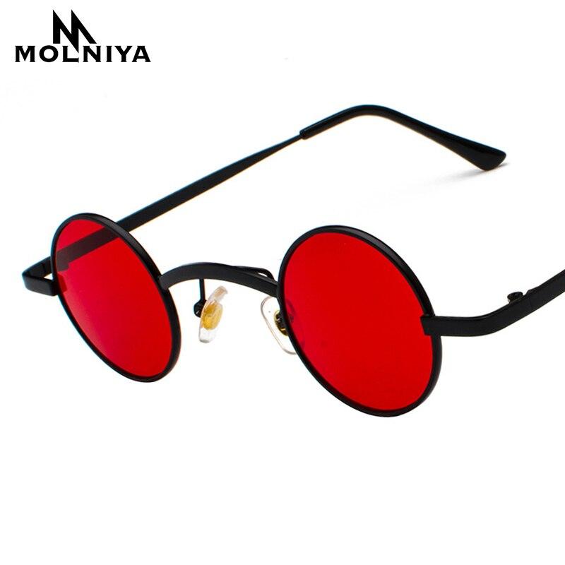 50f69c84a00 MOLNIYA nouvelle marque Designer classique petites lunettes de soleil  rondes hommes petit Vintage rétro Steampunk lunettes