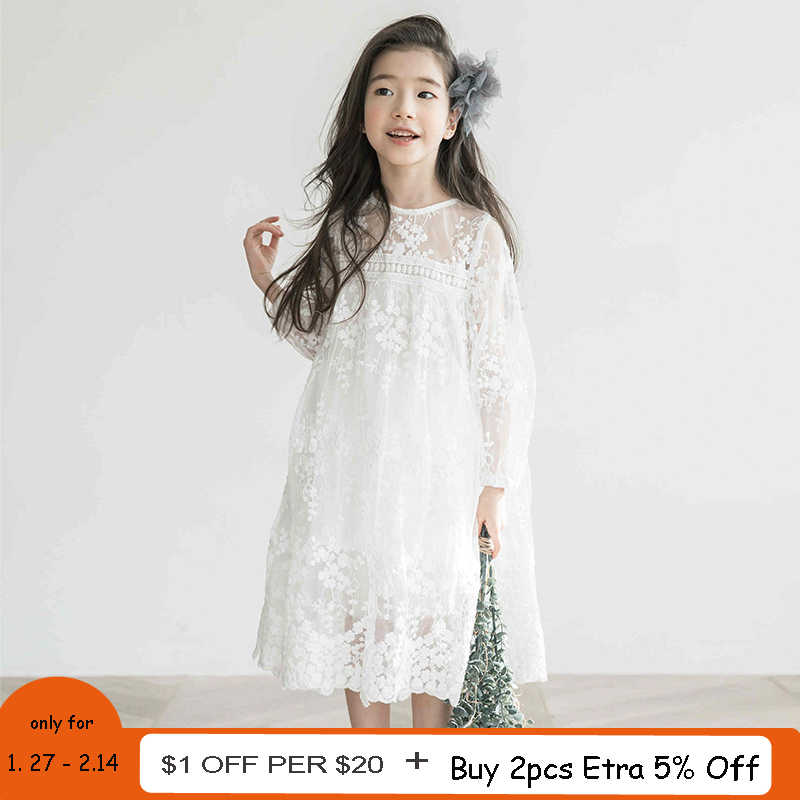 e8b8561bd42 Girls Lace Dress Summer Princess Party Embroidery White Dress for Little  Girl Size 4 5 6