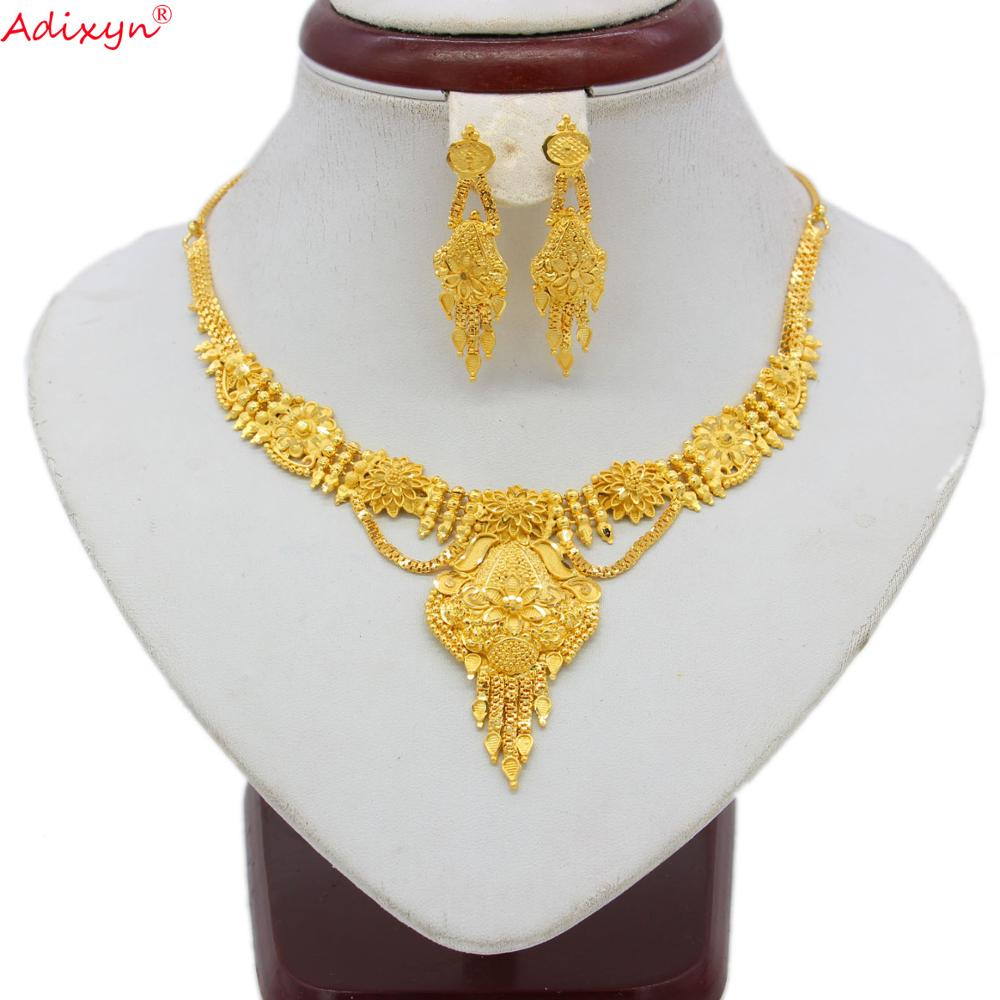 Adixyn India Jewelry Set Gold Color Necklace Earrings Luxury Arab African Wedding Party Gifts N06082(China)