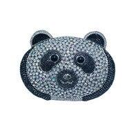 Bloqueio beijo Panda Bolsa De Noite e de Embreagem Sacos para As Mulheres Sacos de Noite de Cristal