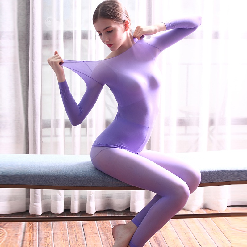 New Solid Color Seamless Light High Elastic Women Thermal Underwear Sets Elasticity Shaped Underwear Set Sexy Long Johns