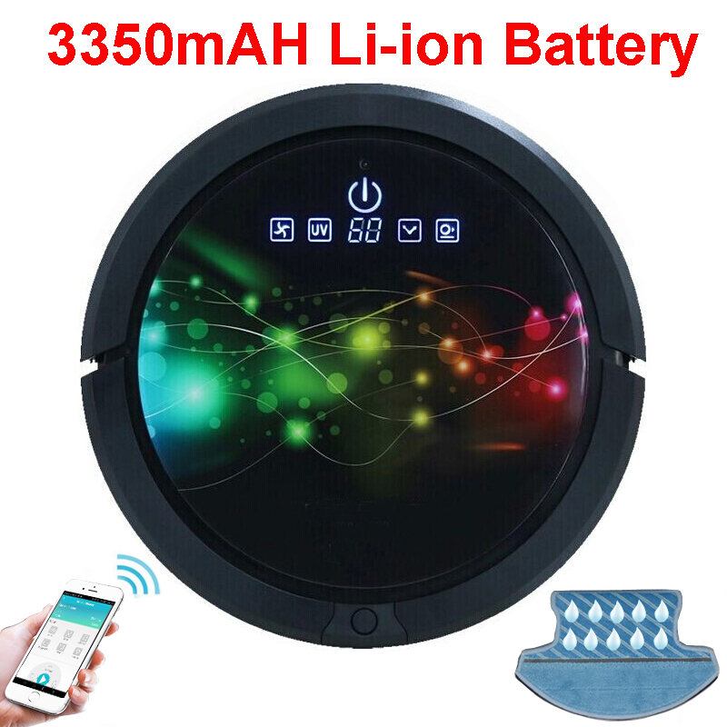 WiFi Smartphone App Control Wet And Dry Automatic Robot Vacuum Cleaner For Home With 3350mAH Li-ion Battery, Water Tank, UV lamp