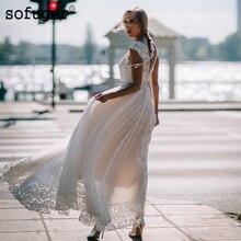 Beach Sexy Backless Sashes Chiffon Wedding Dresses Tank Bridal Gown Vestidos de Noivas Custom