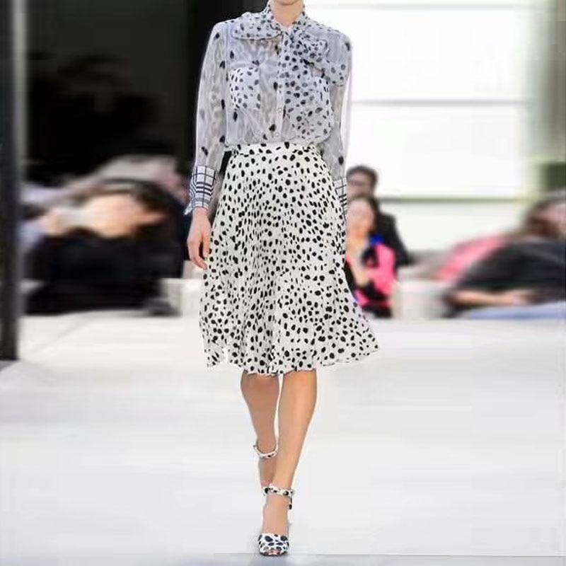 2019 Fashion High Quality Party Sexy Leopard Print Print Long Sleeve Sunscreen Shirt White Half Skirt