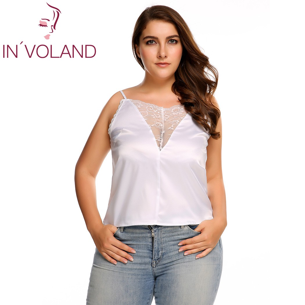 IN'VOLAND Women Sexy Cami Top Plus Size Fashion Adjustable Spaghetti Strap Lace Trim Brand Vintage Feminino Tank Top Large Size
