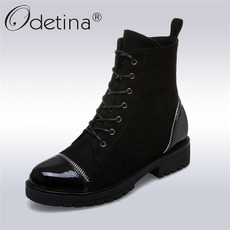 Odetina New Fashion Patent Leather Ankle Boots Women Low Heels Lace Up Zipper Women Boots Autumn Winter Casual Shoes Big Size 43 2018 new fashion ankle boots autumn winter women boots high heels boots lace up women shoes large size 34 43