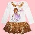 Nova marca muchacha de los niños del otoño del resorte de los niños de estilo europeo fiesta princesinha sophia princesa sofía el primer vestido de princesa