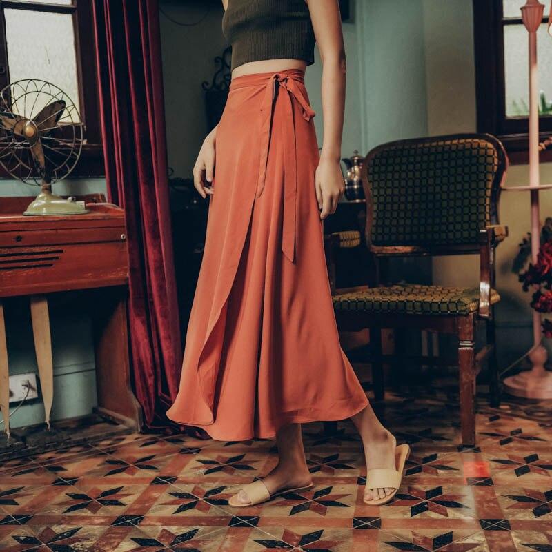 Hot femmes Bowknot ceinture asymétrique jupe solide rétro taille haute plage femmes jupes printemps été