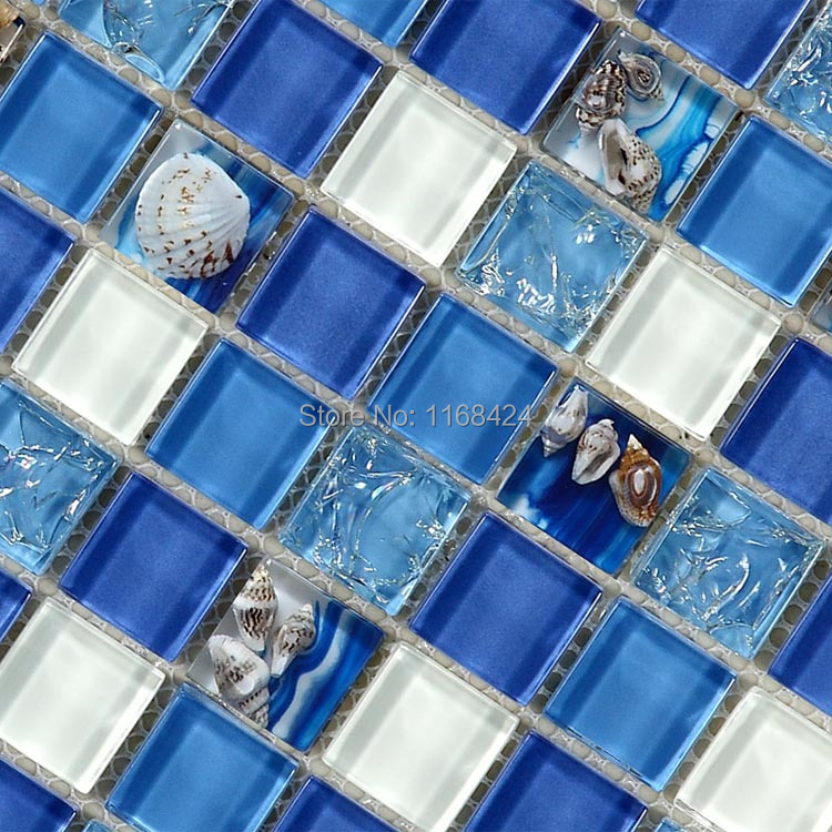 Deep Blue Sea Shell Glass Mosaic Tiles For Kitchen