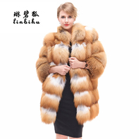 Luxury Deisgn Real Red Fox Fur Women Coats Thick Winter Genuine Female Natural Fox Fur Down