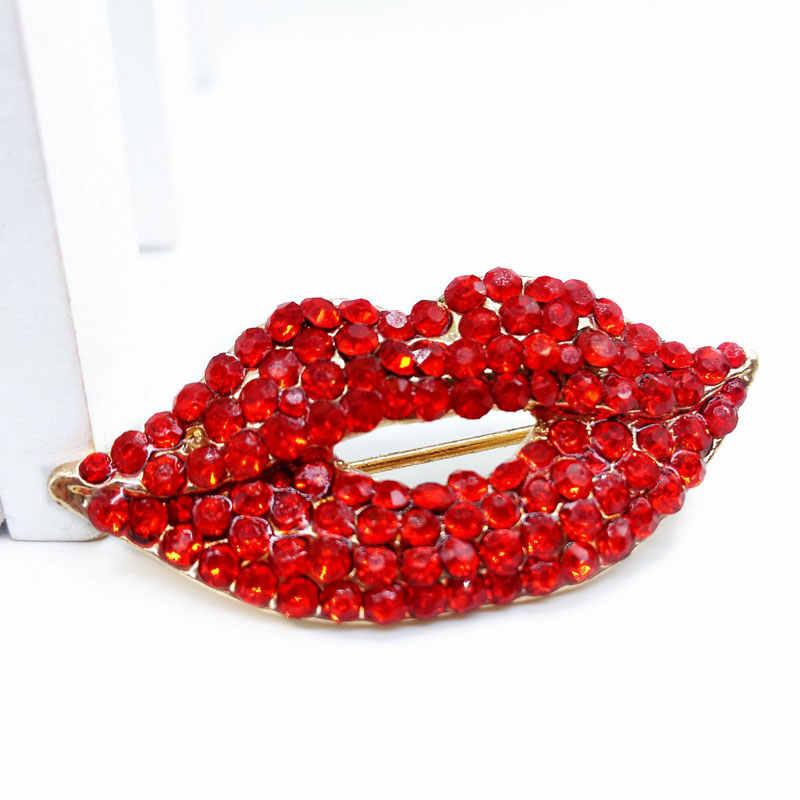 Korea Berlian Imitasi Bibir Merah Bros Perhiasan Yang Indah Kelas Tinggi Wanita Bros Selendang Gesper Pin Pernikahan Mewah