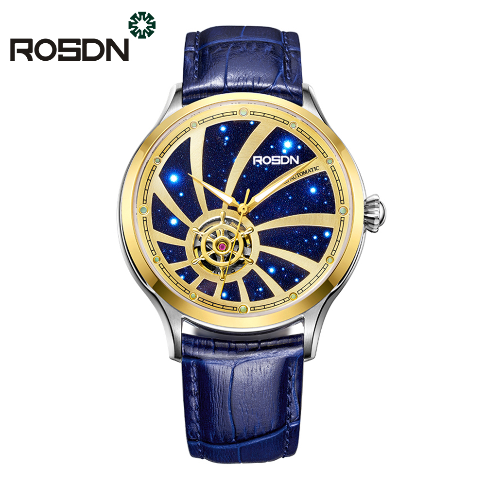 ROSDN Mens Luxury Automatic Watch Gold Stainless Steel Dress Wrist Watches Twenty-one jewels Self-winding Movement Leather Strap