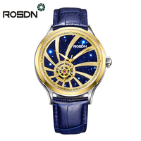 ROSDN Mens Luxury Automatic Watch Gold Stainless Steel Dress Wrist Watches Twenty one jewels Self winding Movement Leather Strap