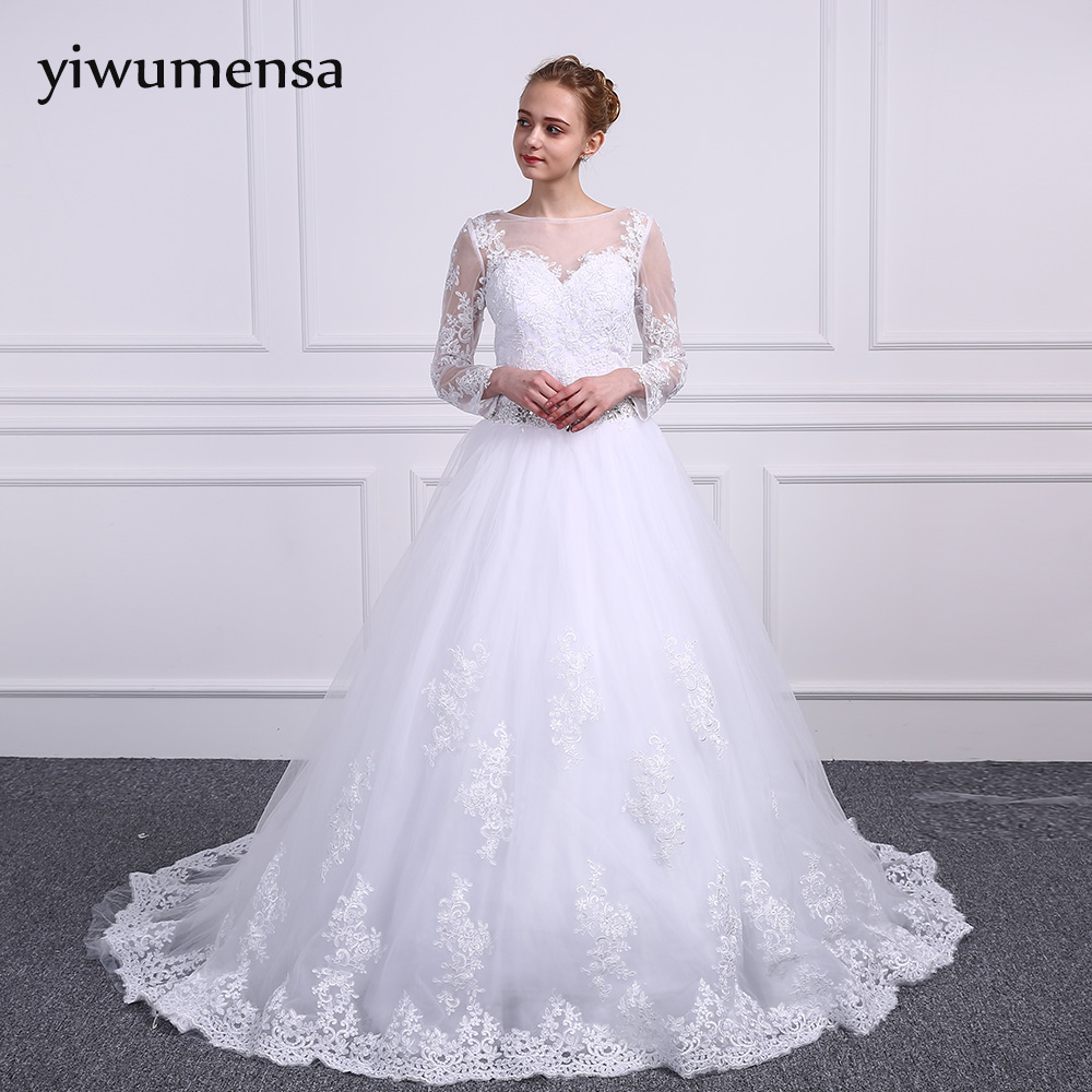 yiwumensa vestidos de novia Long sleeves Muslim Wedding dresses 2018 Lace Appliques Luxury Pearls wedding dress Bride Ball Gown