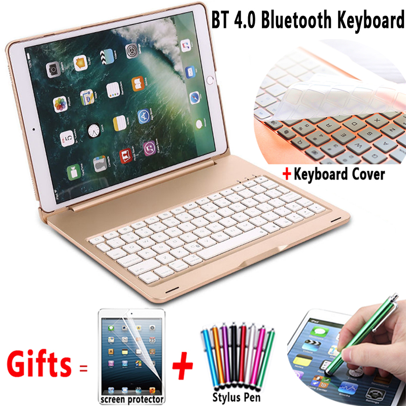 Aluminum Alloy Wireless Bluetooth Keyboard with Flip PC Case Cover for Apple iPad 9.7 2017 2018 A1822 A1823 A1893 A1954 Air 1 5 zomgo stylish protective aluminum alloy bumper case for iphone 5 5s deep pink