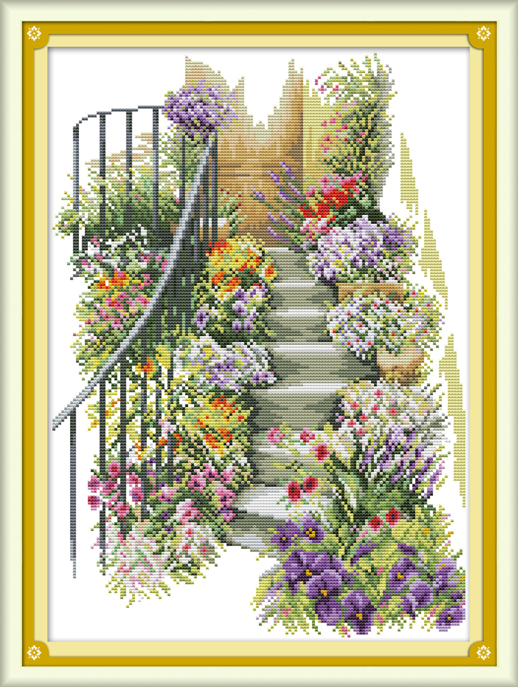 Flower Stairs Cross Stitch Kit Aida 14ct 11ct Count Print Canvas Cross Stitches   Needlework Embroidery DIY Handmade