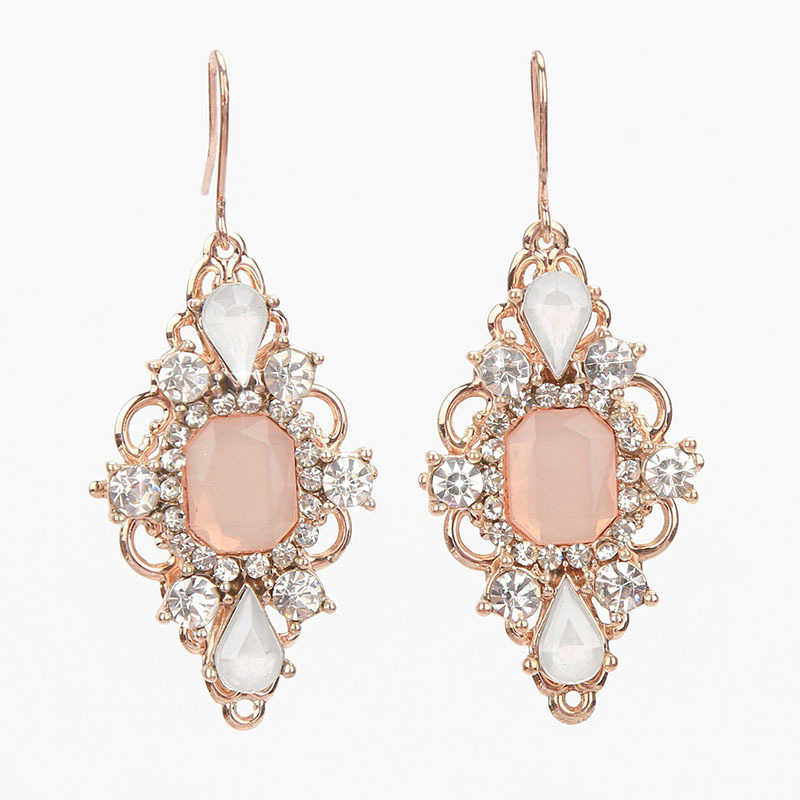 Fashion Rose Gold zircon crystal pendent Dangle earrings For women Female Charm Drop Earrings wedding Jewelry Gift 2019 Brincos