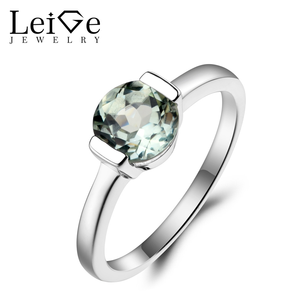 Leige Jewelry Wedding Ring Natural Green Amethyst Ring Round Cut Green Gemstone Genuine 925 Sterling Silver Gifts for Women leige jewelry solitaire ring natural green amethyst ring round cut wedding ring gemstone 925 sterling silver ring gift for women