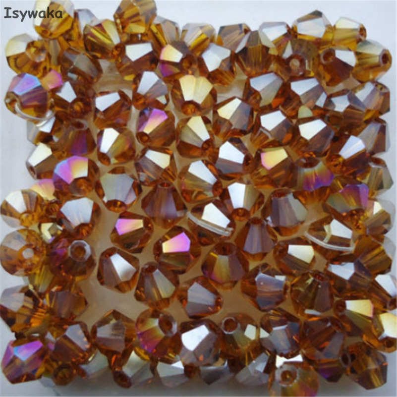 Free shipping Brown AB colors 100pcs 4mm Bicone Austria Crystal Beads charm Glass Beads Loose Spacer Bead for DIY Jewelry Making