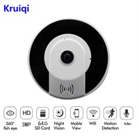 Kruiqi Panorâmica Wireles Câmera IP Audio Video WiFi VR 3MP HD Fisheye Lens Wide Angle Night Vision CCTV Home Security câmera IP