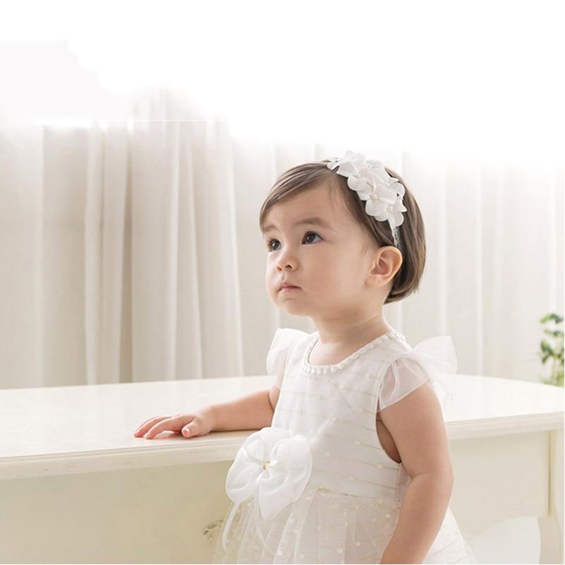 Realistisch Bloemblaadjes Baby Meisje Hoofdband Uitsparing Kant Hoofddeksels Tulband Knoop Elasticiteit Comfortabel Voor Dress Up Witte Hoofdtooi Zoete Prinses Stevige Constructie