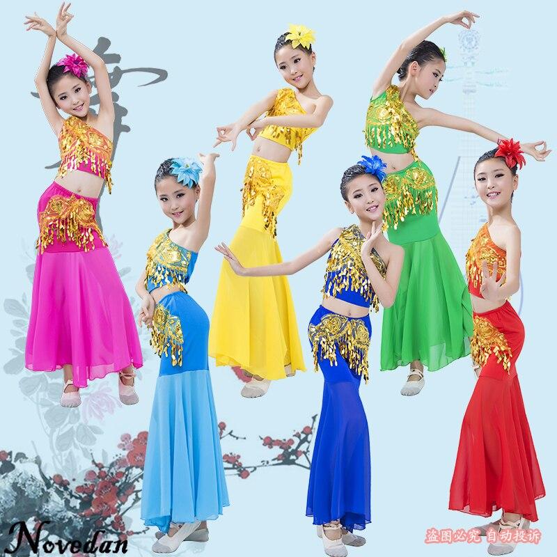 Child Cheap Belly Dance Costume Set Suit Kids Girls Indian Bollywood Dance Costume Long Belly Mermaid Dress Skirt Top Set
