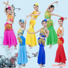 Child Cheap Belly Dance Costume Set Suit Kids Girls Indian Bollywood Long Mermaid Dress Skirt Top