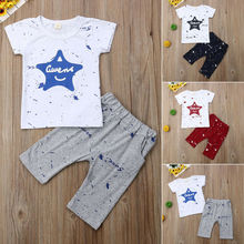 2Pcs Toddler Kids Baby Girls Boys Short Sleeve Tops Star T-shirt Pants Outfits Set Clothesset 2017 summer toddler kids baby girls cotton outfits clothes short sleeve t shirt tops pants 2pcs children sets