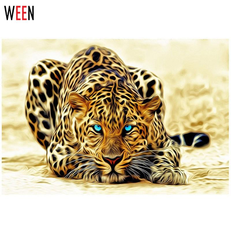 WEEN Modern DIY Painting by Numbers Leopard Picture Home Wall Art Canvas Decor Animal Abstract Painting Cuadros Decoracion