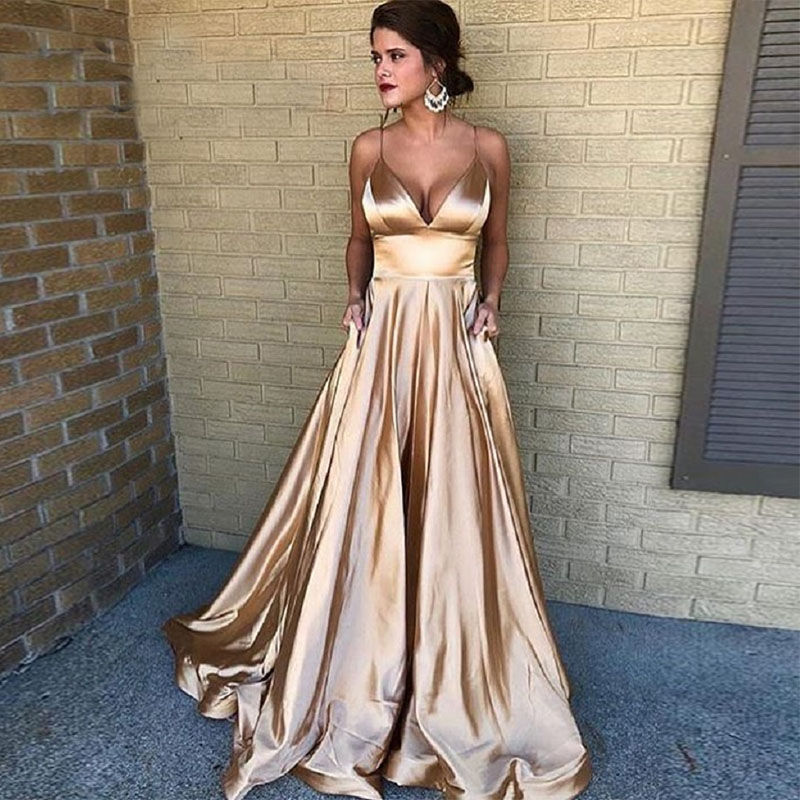 Newest A Line Long Champagne Evening Dress Sexy Elastic Satin Vestido De Festa Spaghetti Straps Party Formal Pageant Prom Gowns