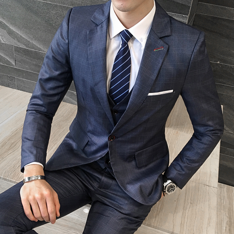 Men Business Suit purplish blue plaid dress Slim fit Classic Male Suits Blazers Luxury Suit Men One Buttons blazers+pants+vest