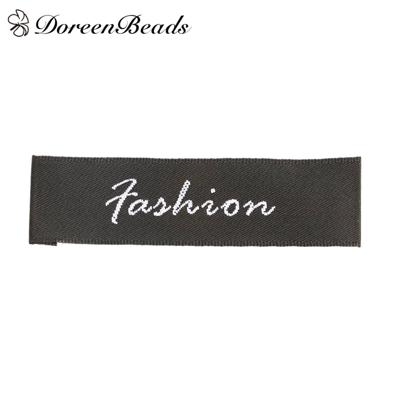 DoreenBeads Woven Printed Labels Tags DIY Tool Gift Bag Shoes Tags Craft Rectangle Fashion Black White 6.8*2cm, 10 PCs