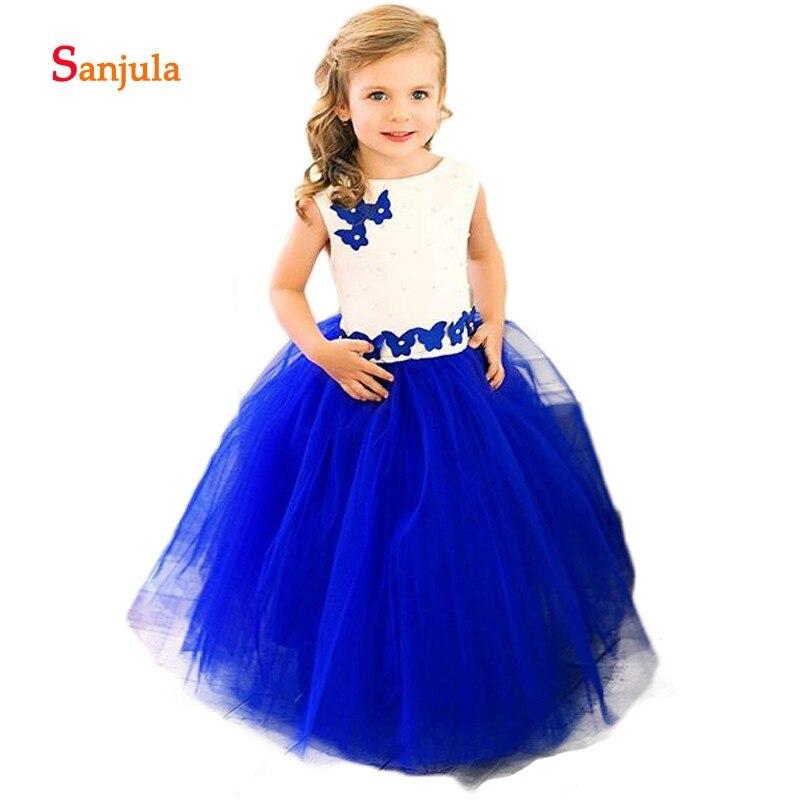 Royal Blue Puffy Tulle   Flower     Girls     Dresses   O-Neck Pearls Handmade Butterfly Shape   Flowers     Girls   Birthday Party   Dresses   D405