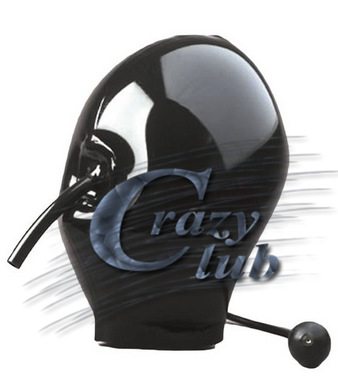 Crazy club_ Latex Black Inflatable Mask Mouth Tube Hood fetish 100% pure nature handmade latex Sale Free Shipping Fast Delivery water ski tube flying sofa inflatable water ski tube crazy ufo inflatable crazy water game crazy ufo