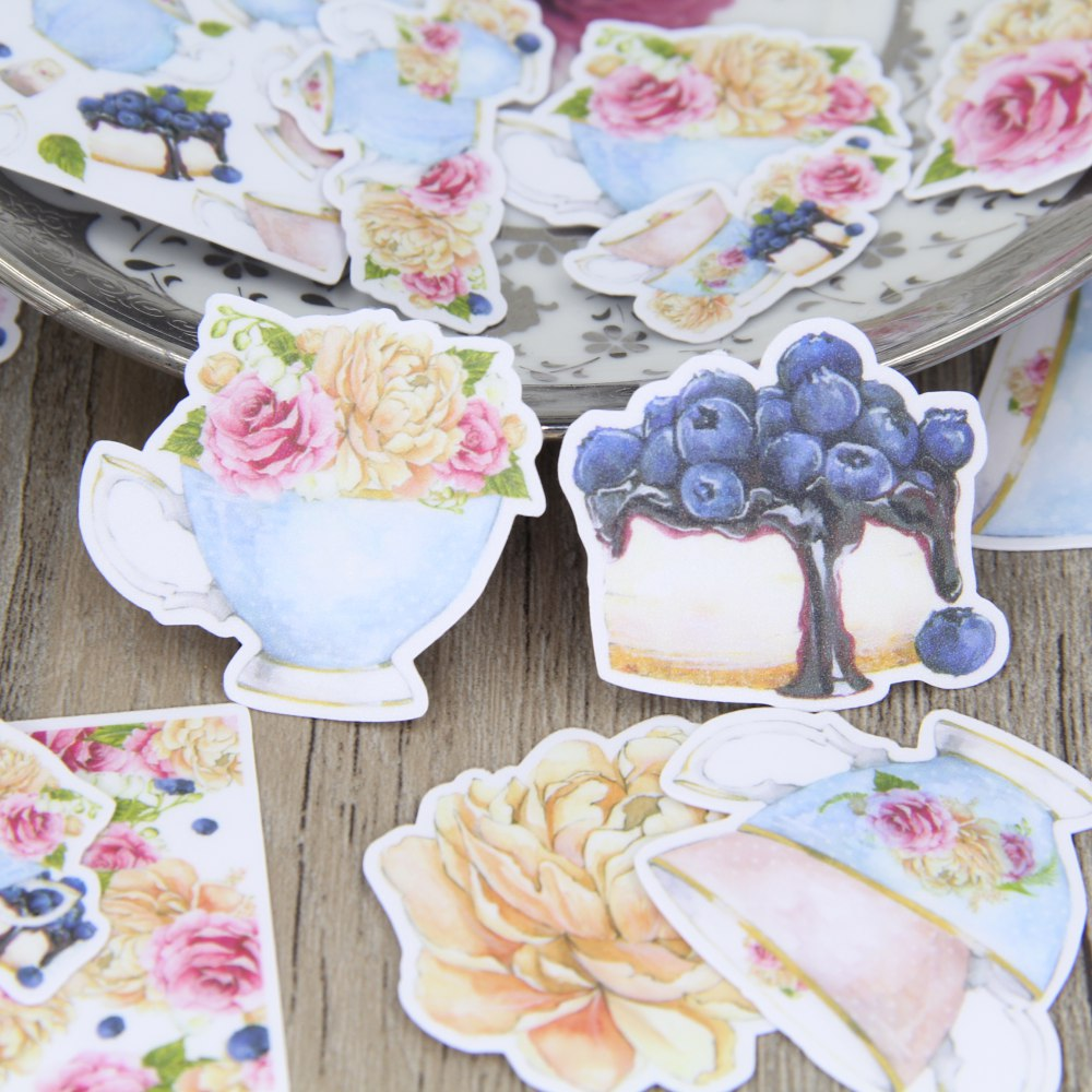 26pcs Europe Style Tea Set Cup Tea Pot Flower Cake Scrapbooking Stickers DIY Craft Decorative Sticker Pack купить