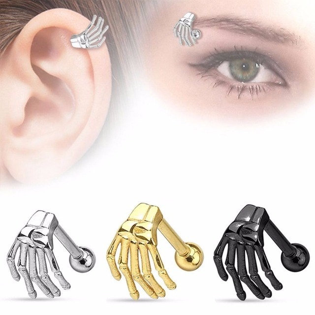 1 Pc Gothic Punk Stainless Steel Skeleton Hand Barbell Ear Cartilage Helix Stud Bar Earring