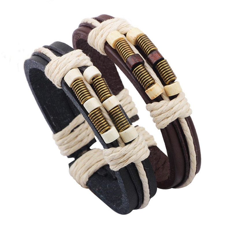 Vintage Style Handmade Weaving Leather Bracelet for Women Men Decorating Braided Bracelet & Bangles Lace-up pulseira masculina