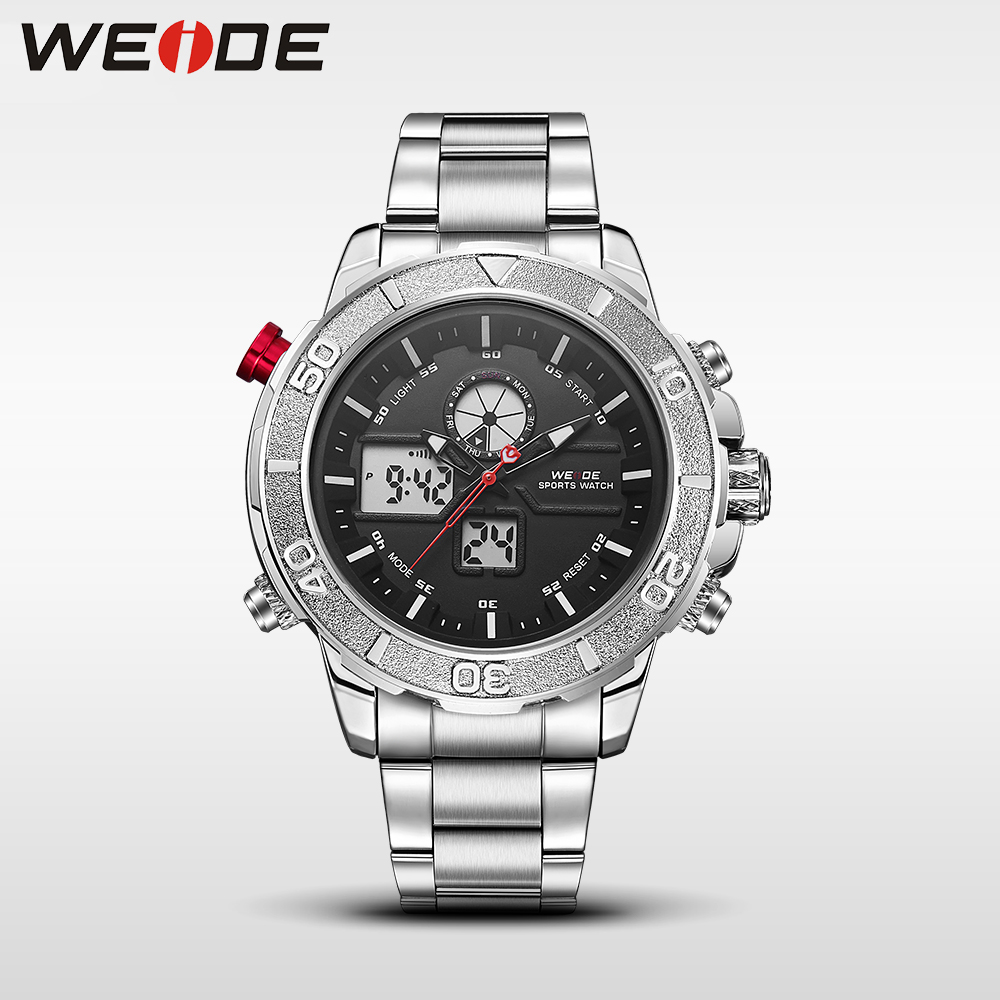 Weide watch stainless steel quartz date  sport  digital led fashion casual mens watchesautomatic watch men metal military clock weide popular brand new fashion digital led watch men waterproof sport watches man white dial stainless steel relogio masculino