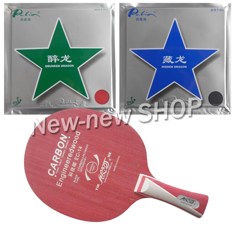 Galaxy YINHE EC-14 Blade with Palio Hidden Dragon 40+ and Drunken Dragon 40+ Rubbers for a Racket Shakehand long handle FL pro table tennis pingpong combo racket galaxy yinhe ec 14 with palio hidden dragon 40 and drunken dragon 40 long shakehand fl