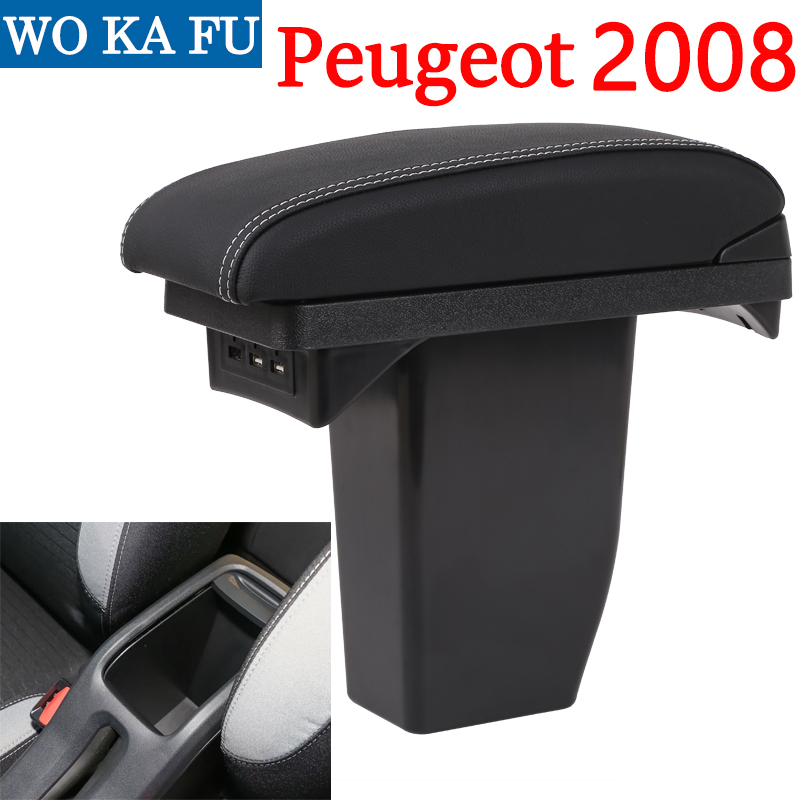 for Peugeot 2008 armrest box universal car center console caja modification accessories double raised with USB
