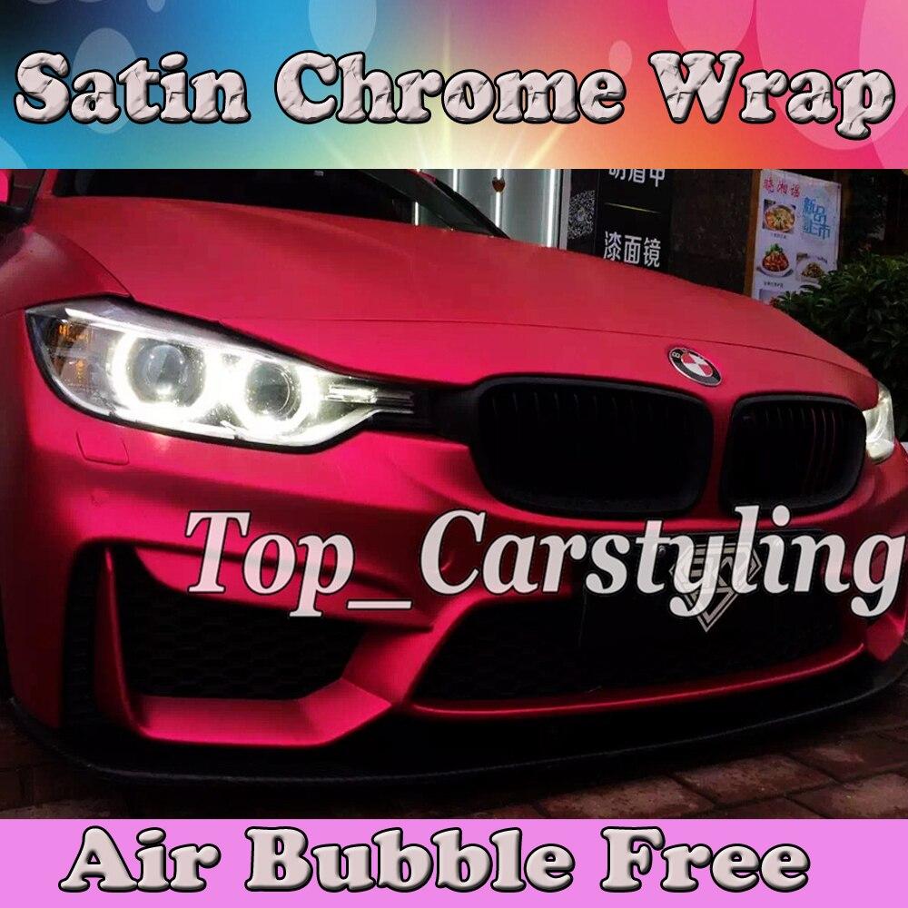 Film de protection pour voiture Rose mat satiné chrome vinyle Wrap pour voiture revêtement feuille de style avec Air rleasing protwrap 1.52x20 m/Roll