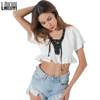 LAISIYI Fashion Lace Up Tshirt Women Crop Top Short Sleeve Ruffles Sexy Tee Shirt Femme White