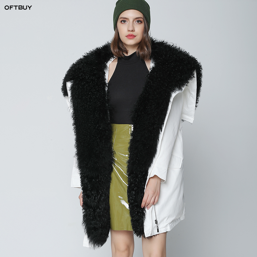 OFTBUY 2019 Winter Jacket Women Long Parka Outwear Natural Real Mongolia Sheep Fur Collar Coat White Loose Duck Down Jacket New
