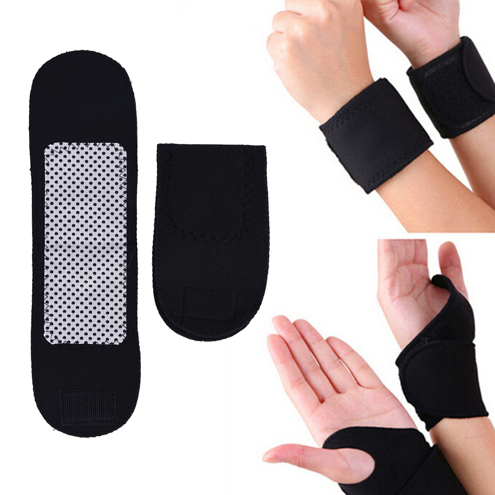 New 1 Pair =2 pcs Brace Support Strap Tourmaline Self Heating Wrist Mangnetic Far Infrared Ray High Quality