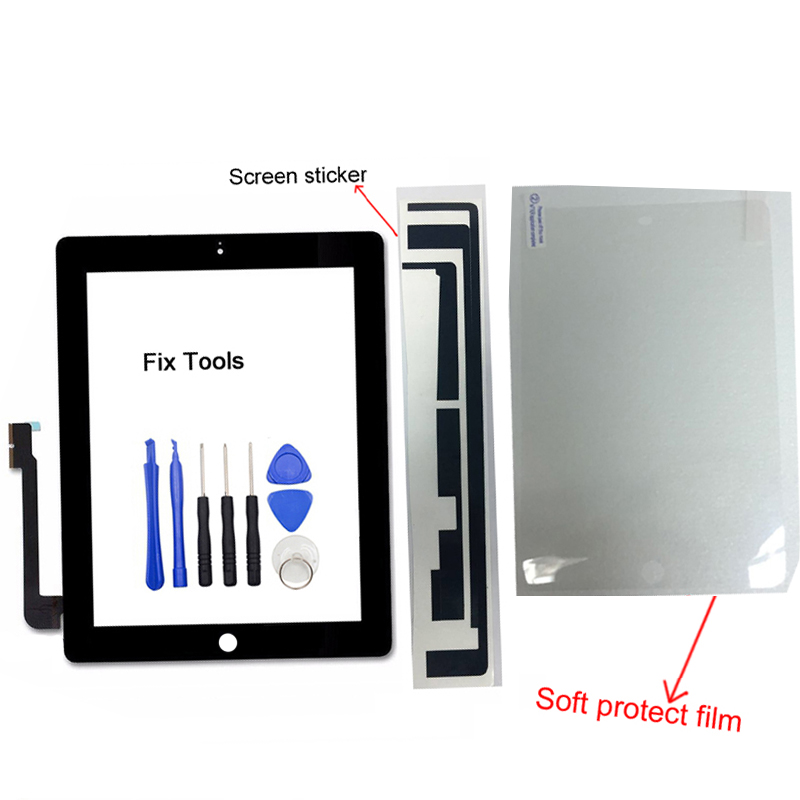 1Pcs (Tested) Touch Screen Digitizer Outer Panel For Apple iPad 4 A1458 A1459 A1460 Front Glass+Tools+Sticker+Protect Film