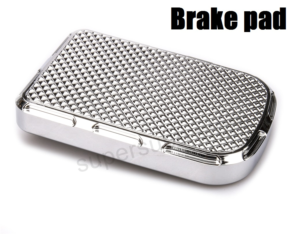 Chrome CNC Beveled Brake Pedal Pad Cover harley softail brake pedal cover dyna street bob brake pads cover motorcycle cnc 6 hole beveled engine side guard derby cover