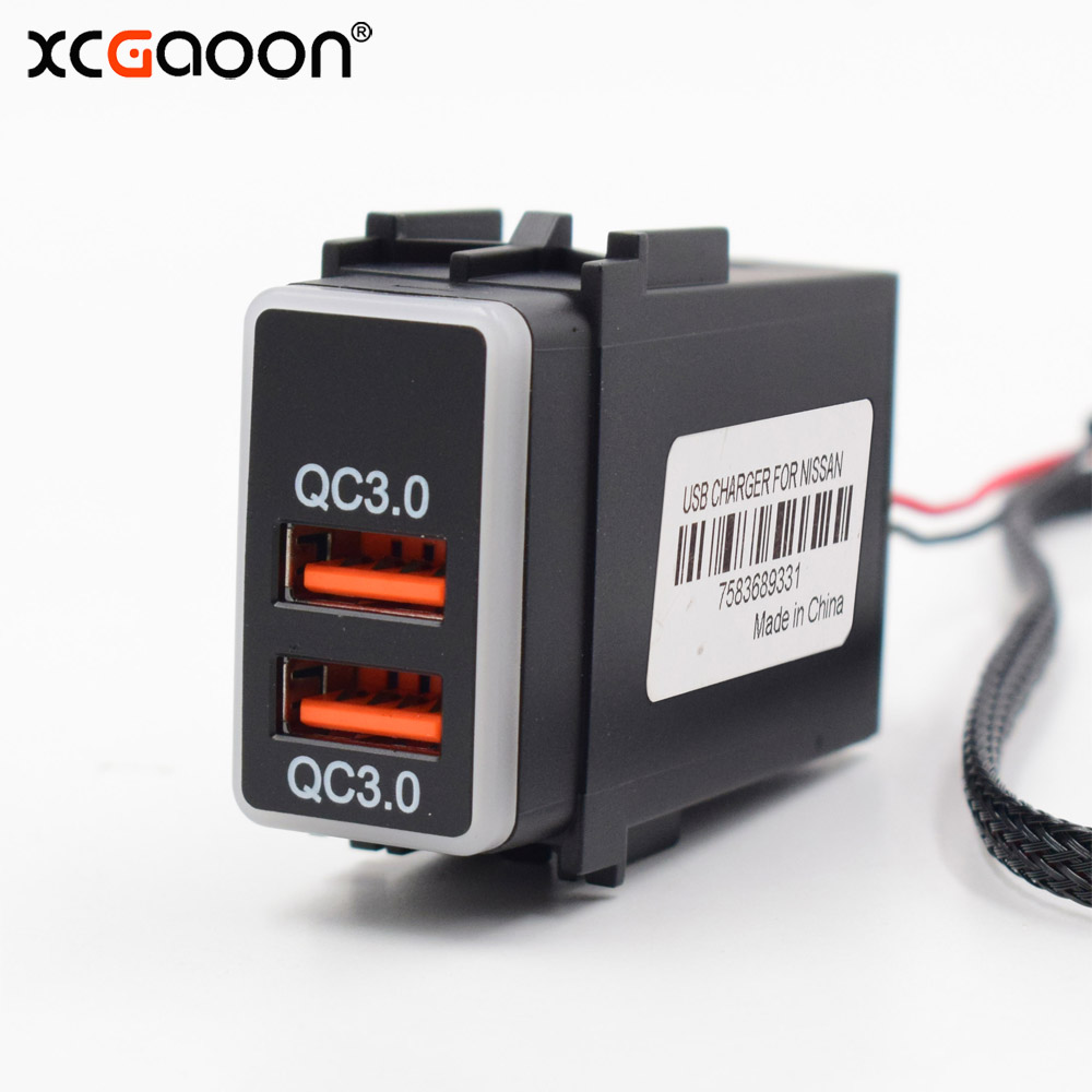 XCGaoon Special 5V 2.1A & QC3.0 Quick Charge 2 USB Interface Socket Car Charger Adapter Plug & Play Cable For NISSAN