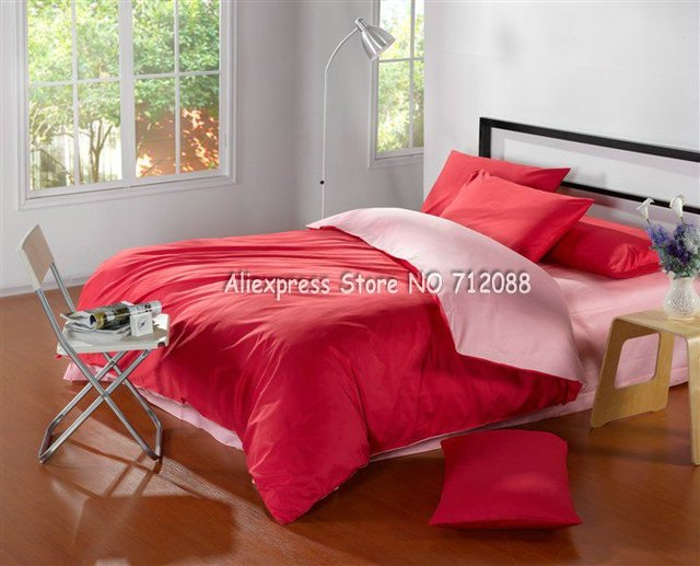 New Arrivals Cotton Twill Satin Drill Bi-color Brick Red+Pink Solid 4Pcs King Bed With Flat Sheet Duvet Comforter Bedding Set